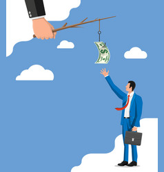 businessman trying to get dollar on fishing hook vector image