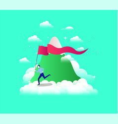 Businessman with flag competing in the sky and vector