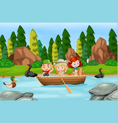 camping kid on paddle boat vector image