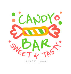 candy bar sweet and tasty logo colorful hand vector image