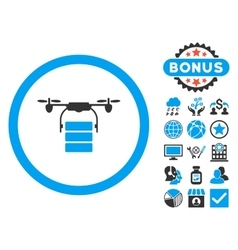Cargo Drone Flat Icon with Bonus vector image