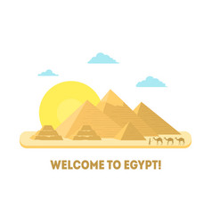 Cartoon pyramid symbol of egypt background tourism vector