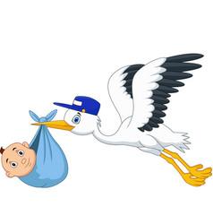 cartoon stork flying bird carrying a newborn vector image