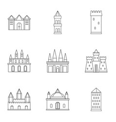 Castles and towers icon set outline style vector
