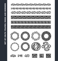 Celtic borders patterns and rings set vector