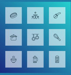 cook icons line style set with sieve whisk hot vector image
