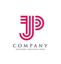 creative and simple letter jp vector image