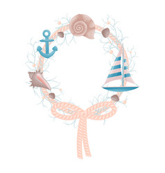 Decorative nautical wreath rope with anchor and vector