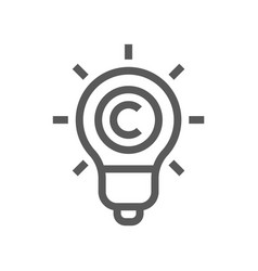 Digital law copyright flat line icon vector