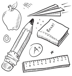 doodle school book pencil paper apple learn vector image