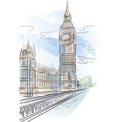 Drawing color big ben tower in london uk vector