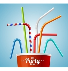 Drinking Straws and Cup Party Placard or Flyer vector