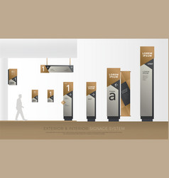 Exterior and interior green eco signage concept vector