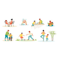 family scenes kids and parents playing reading vector image