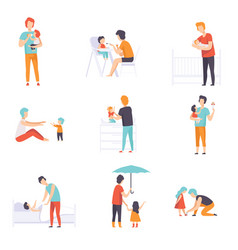 Fathers taking care of their children set daddies vector