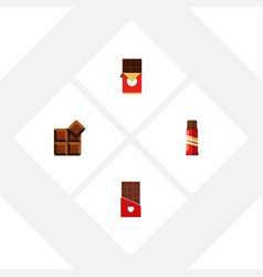 Flat icon chocolate set of sweet cocoa chocolate vector