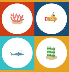 Flat icon marine set of periscope shark seaweed vector