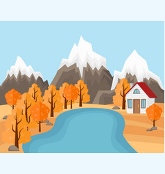 flat landscape in autumn country house near the vector image