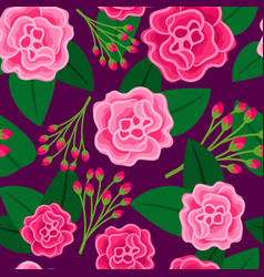 floral pattern with big pink flower vector image