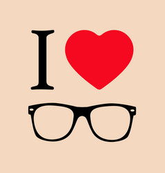 geek glasses print i love sunglasses vector image