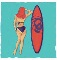 Girl and surfing board vector