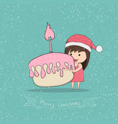 girl with cupcake merry christmas drawing by hand vector image