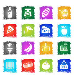 Grocery store icon set vector
