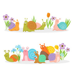 group cartoon character snails with flowers vector image