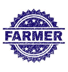 Grunge textured farmer stamp seal vector