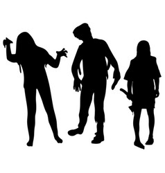 Halloween party silhouettes of zombies halloween vector