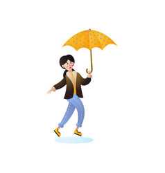 happy jumping woman walking with yellow umbrella vector image