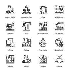 industrial and construction line icon set 8 vector image