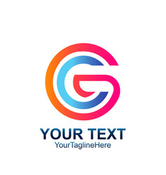 initial letter cg or gc logo template colorfull vector image