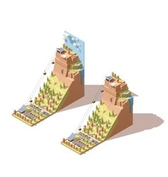 Isometric cableway to the hill infographic vector