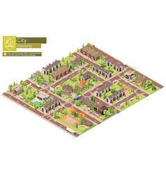 Isometric city suburban area block vector