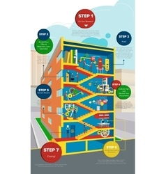 Isometric multi-storey building with stairs and vector