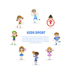 Kids sport banner template with space for text vector