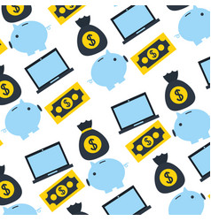 Laptop piggy bank money fintech background vector