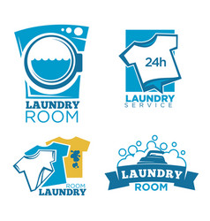 Laundry service logotypes set with equipment and vector
