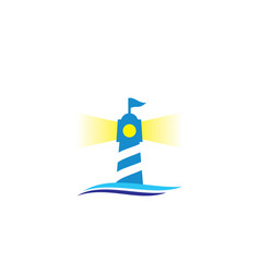 lighthouse with wave logo vector image