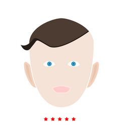 Little boy face icon flat style vector