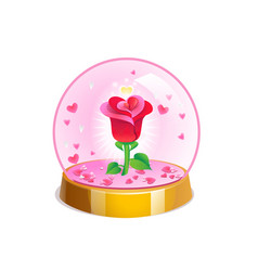 magic crystal ball with small pink hearts and red vector image