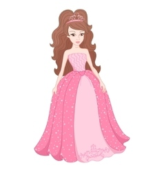Magnificent princess in gentle pink dress with vector