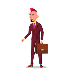 man in business suit with a briefcase in hand and vector image