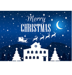 merry christmas winter landscape with houses fir vector image