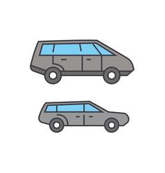 minivan line icon concept minivan flat vector image