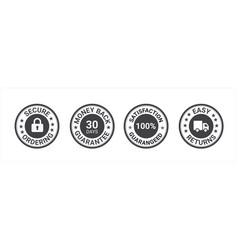 Money back guarantee free shipping trust badges vector