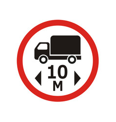 Movement of 10 meters vehicles is prohibited vector