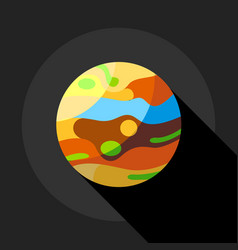 multicolored planet icon flat style vector image