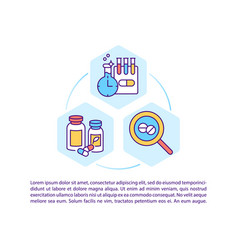 New drug development concept line icons with text vector